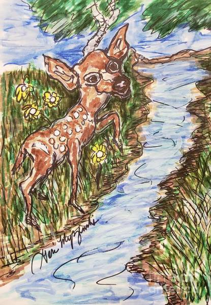 Bambi Mixed Media - Deer Crossing The River by Geraldine Myszenski