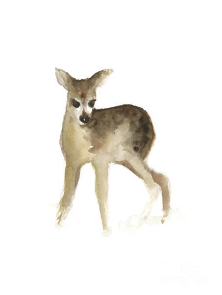 Deer Wall Art - Painting - Deer Fawn Watercolor Painting by Joanna Szmerdt