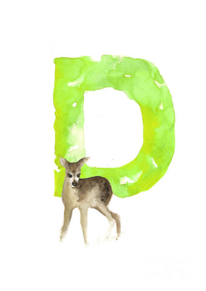 Deer Wall Art - Painting - Deer Figurine Watercolor Poster by Joanna Szmerdt