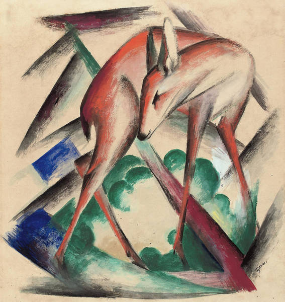 The Blue Rider Wall Art - Painting - Deer by Franz Marc