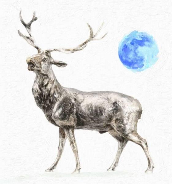Black Buck Painting - Deer In Full Moon by Celestial Images