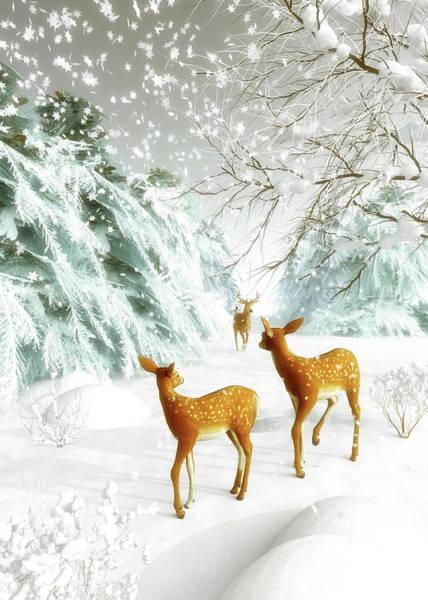 Painting - Deer In The Snow by Jan Keteleer