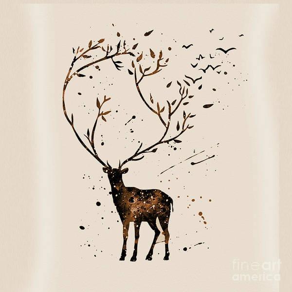 Wall Art - Painting - Deer Light Brown Back by Gull G