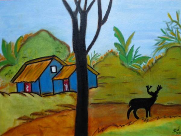 Black Buck Painting - Deer On The Road by Elizabeth Ribet
