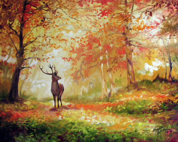 Painting - Deer On The Wooden Path by Marcia Baldwin
