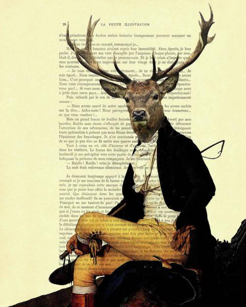 Buck Wall Art - Digital Art - Deer Regency Portrait by Madame Memento
