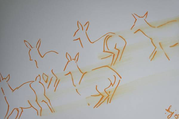 Drawing - Deer Running At Speed by Mike Jory