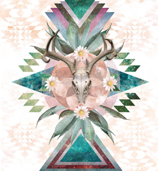 Deer Skull Digital Art - Deer Skull Mandala by Lori Menna