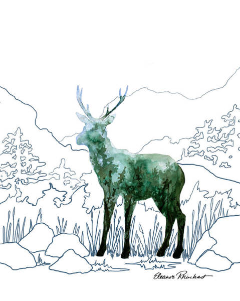 Adirondack Mountains Painting - Deer Watercolor On Blue Line Mountain Scene by Eleanor Rhinehart