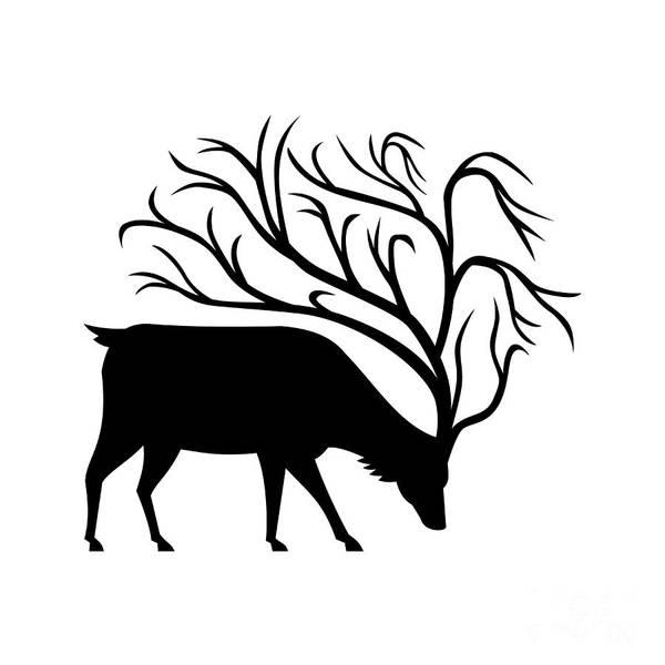 Black Buck Digital Art - Deer With Tree Antlers Mascot by Aloysius Patrimonio