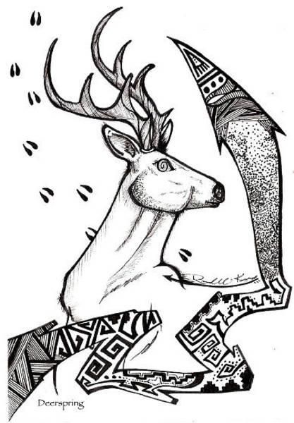 Wall Art - Drawing - Deerspring by Eric Kee