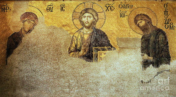Deesis Mosaic Hagia Sophia-christ Pantocrator-judgement Day Art Print