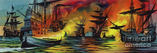 Wall Art - Painting - Defeat Of The Spanish Armada, 1588 by Ron Embleton
