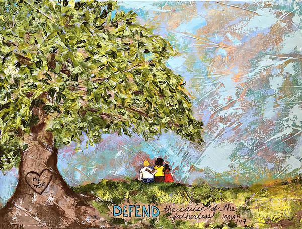 Wall Art - Painting - Defend The Fatherless by Kirsten Reed