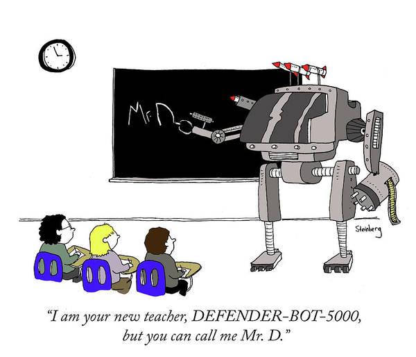 Avi Steinberg Drawing - Defender Bot 5000 by Avi Steinberg