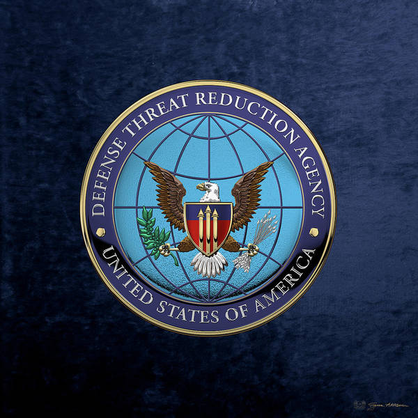 Digital Art - Defense Threat Reduction Agency -  D T R A  Seal Over Blue Velvet by Serge Averbukh