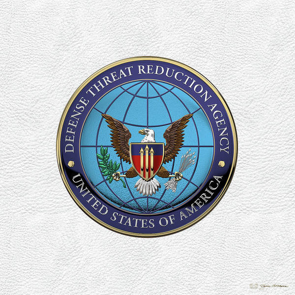Digital Art - Defense Threat Reduction Agency -  D T R A  Seal Over White Leather by Serge Averbukh
