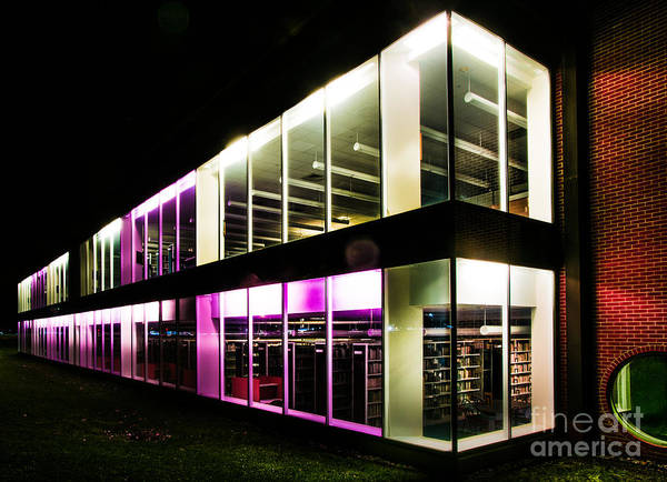 Photograph - Defiance College Library Night Time by Michael Arend