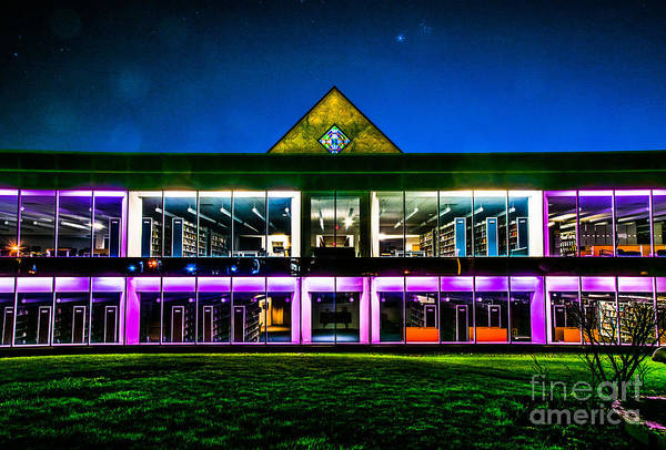 Photograph - Defiance College Library Night View by Michael Arend
