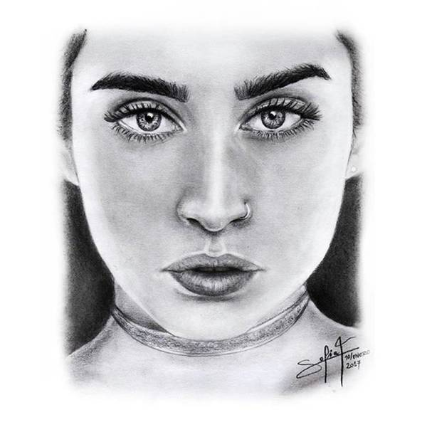 Black Drawing - Lauren Jauregui Drawing By Sofia Furniel  by Jul V