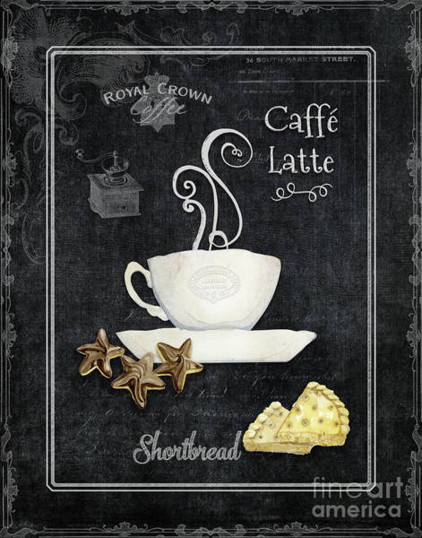 Parisian Cafe Painting - Deja Brew Chalkboard Coffee 2 Caffe Latte Shortbread Chocolate Cookies by Audrey Jeanne Roberts