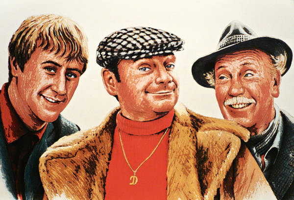 Coloured Pencil Drawing - Del Boy Rodney And Grandad by Andrew Read