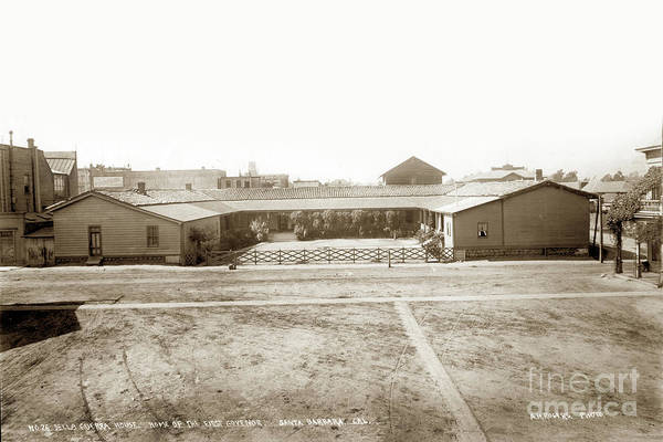Photograph - Del La Guerra Adobe Home Of First Govenor 1898 by California Views Archives Mr Pat Hathaway Archives