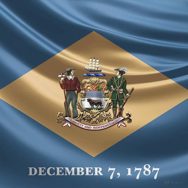 Digital Art - Delaware Coat Of Arms Over Flag by Serge Averbukh