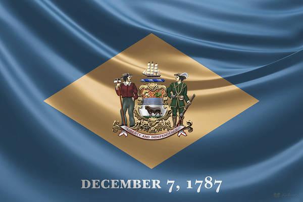Digital Art - Delaware Coat Of Arms Over State Flag by Serge Averbukh