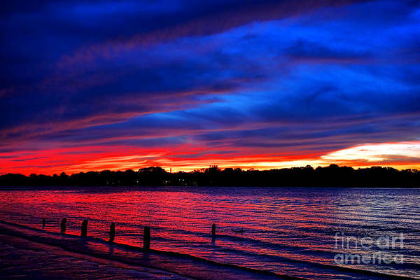 Photograph - Delaware River Fiery Dusk  by Olivier Le Queinec