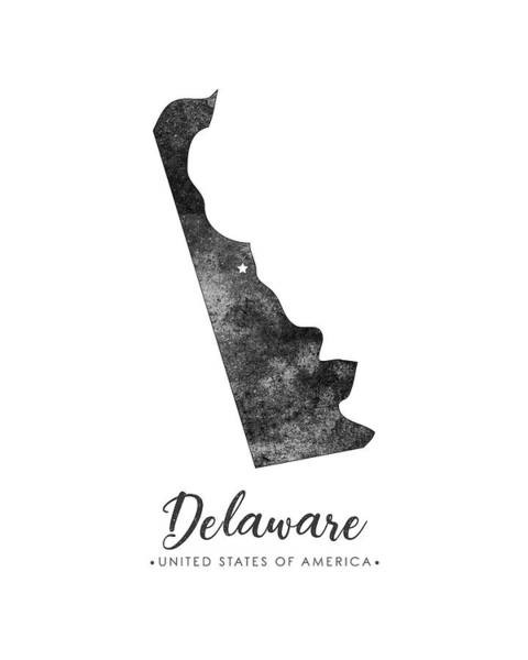 Map Of United States Mixed Media - Delaware State Map Art - Grunge Silhouette by Studio Grafiikka