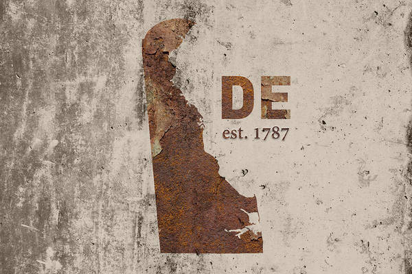 Wilmington Delaware Wall Art - Mixed Media - Delaware State Map Industrial Rusted Metal On Cement Wall With Founding Date Series 023 by Design Turnpike