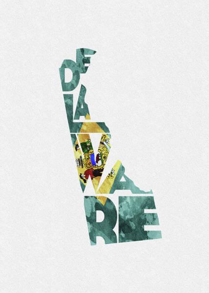 Wilmington Delaware Wall Art - Digital Art - Delaware Typographic Map Flag by Inspirowl Design