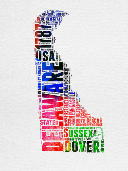 Map Art Mixed Media - Delaware Watercolor Word Cloud  by Naxart Studio