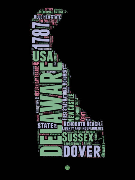 Map Art Mixed Media - Delaware Word Cloud 1 by Naxart Studio