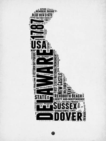 Map Art Mixed Media - Delaware Word Cloud 2 by Naxart Studio