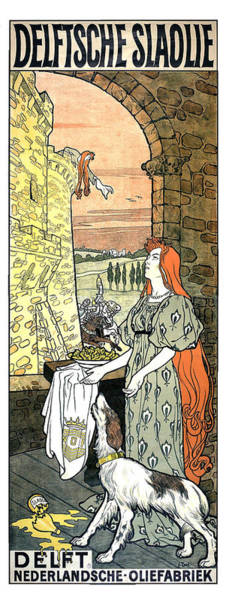 Wall Art - Mixed Media - Delftsche Slaolie - Salad Oil - Vintage Advertising Poster by Studio Grafiikka