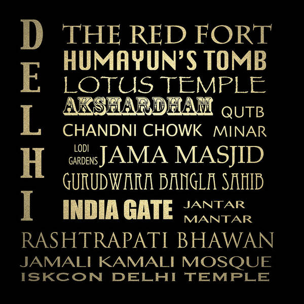 Wall Art - Digital Art - Delhi Famous Landmarks by Patricia Lintner