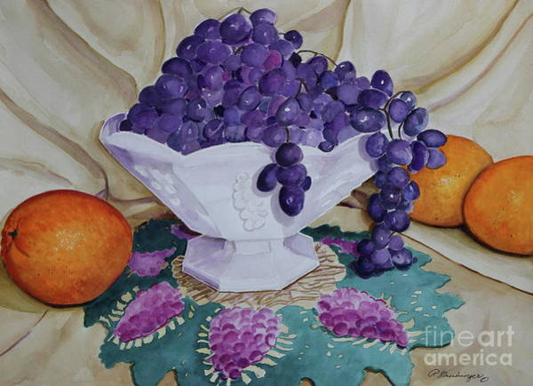 Doily Painting - Delia's Pedestal Bowl With Grapes, Watercolor by Patty Strubinger