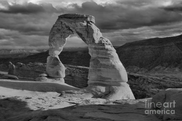 Photograph - Delicate Arch Black And White Sunset Shadow by Adam Jewell