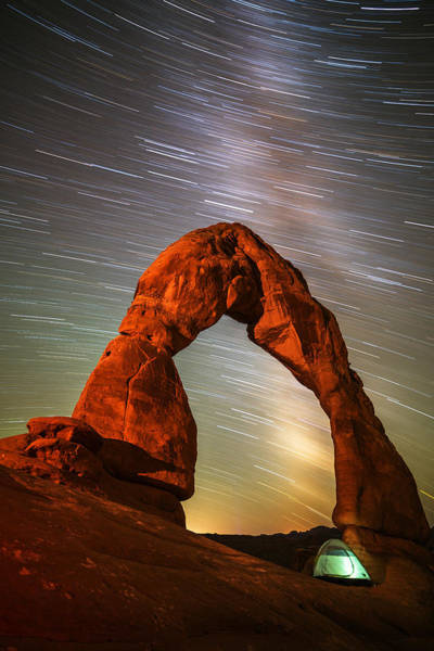 Delicate Arch Wall Art - Photograph - Delicate Arch Star Trails by Darren White