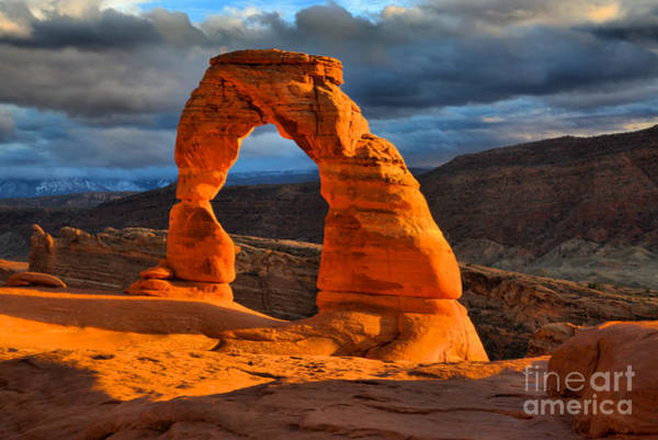 Photograph - Delicate Arch Winter Glow by Adam Jewell