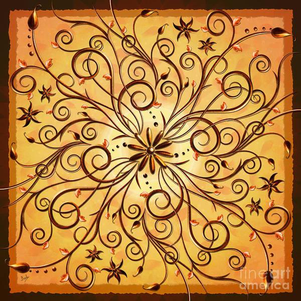Wall Art - Digital Art - Delicate Floral Scrolls by Peter Awax