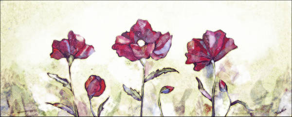 Sage Painting - Delicate Poppy I by Shadia Derbyshire