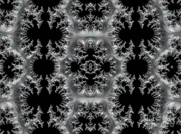 Digital Art - Delicate Silver Filigree On Black Fractal Abstract by Rose Santuci-Sofranko