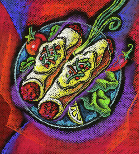Wall Art - Painting - Delicious Anchilada by Leon Zernitsky