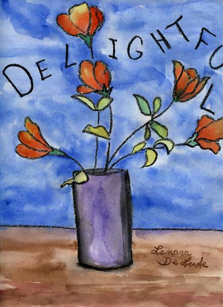 Painting - Delightful Flowers In Purple Vase by Lenora  De Lude