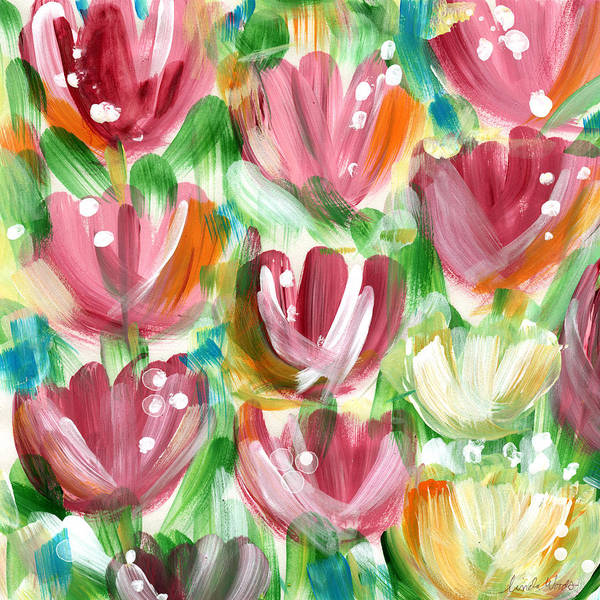 Tulip Wall Art - Painting - Delightful Tulip Garden by Linda Woods