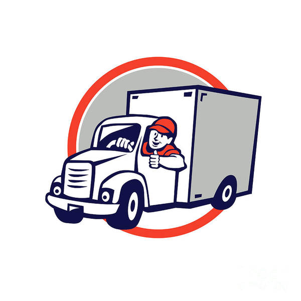 Wall Art - Digital Art - Delivery Van Driver Thumbs Up Circle Cartoon by Aloysius Patrimonio