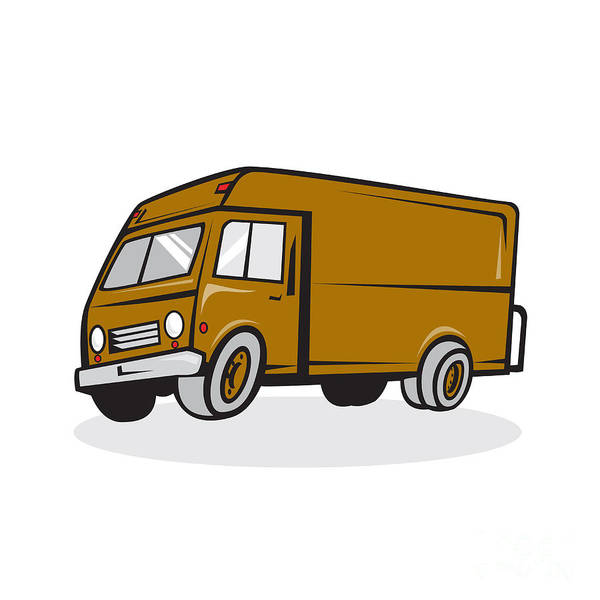 Wall Art - Digital Art - Delivery Van Side Isolated Cartoon by Aloysius Patrimonio